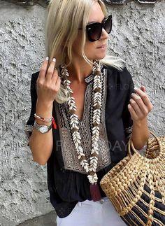 d54ec5e7b5ccc8 Blouses -Color Block Arabian V-Neckline Short Sleeve Blouses Vestiti  Artigianali, Camicette Per
