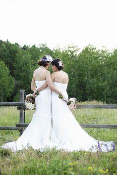 Rustic Art Deco Wedding Inspiration - gorgeous same sex wedding pose! <3