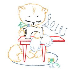Little Kitty Sew - seven free Little Kitty embroidery designs:  Little Kitty Bake, Little Kitty Sweep, etc. absolutely adorable free pdf pattern