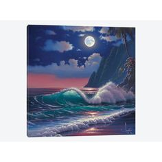 East Urban Home 'Electric Beach' by Al Hogue Painting Print on Wrapped Canvas Size: