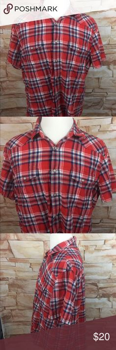 """Lucky Brand Plaid Pearlsnap Lucky Brand  Plaid Pearlsnap  Button Front Shirt  Mens XXL 2XL  Classic Fit  100% Cotton  Measurements Approximate: Shoulder to Shoulder - 21"""" Armpit to Armpit - 26"""" Sleeve Length - 9"""" Shirt Length - 32"""" Lucky Brand Shirts Casual Button Down Shirts"""