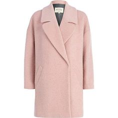 You'll be longing for winter days with this ultra-chic light pink boucle oversized coat #riverisland
