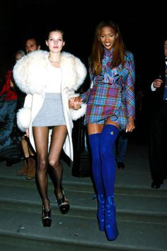 The evolution of model off-duty street styles from the supermodels of the 90s to today: Kate Moss and Naomi Campbell