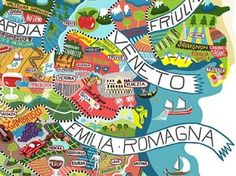 Illustrated map of Italy and its wines