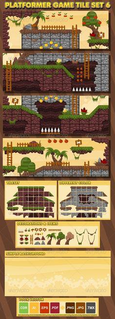 Platformer Game Tile Set 6 - Objects Vectors