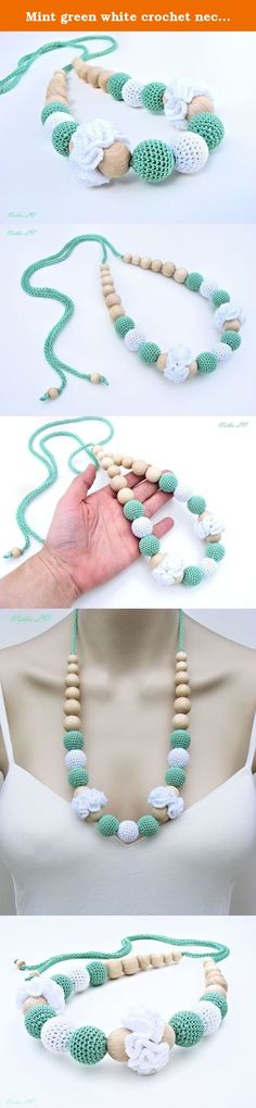 Mint green white crochet necklace, nursing teething necklace, breastfeeding necklace, natural, wooden baby teething toy, summer jewelry, sling accessories, new baby gift. This nursing / teething necklace is 100% natural and eco-friendly. It is made with wooden beads crocheted with a 100% cotton yarn. This necklace is a cute and beautiful accessory for breastfeeding / bottle-feeding mommies. Just knot it in the back. There are no clasps. The ends are loose so just tie them around your…
