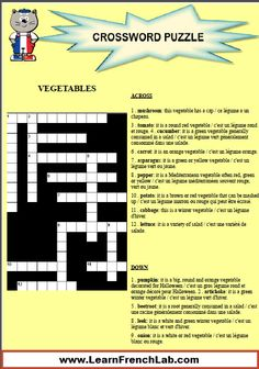 Learn French vegetables with this free printable crossword puzzle www. French Lessons Online, Learn French Online, Free Printable Crossword Puzzles, Free Printable Worksheets, Learning French, Learning Time, Rocket French, French Worksheets, French Classroom