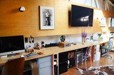 long desk with two work stations in Joyce's Modern & Personalized West Oakland Loft