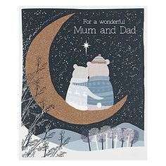 Buy Woodmansterne Two Bears Sitting On A Moon Christmas Card Online at johnlewis.com
