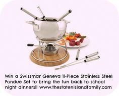 Win a Swissmar Geneva 11-Piece Stainless Steel Fondue Set to bring the fun #backtoschool night dinners!!