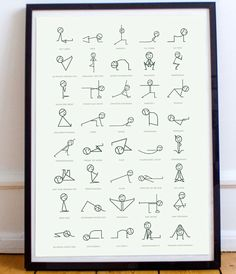 Figure Yoga Pose Print Cute, minimalist designed poster of stick figures doing yoga poses. Perfect for a yoga studio or home office.Cute, minimalist designed poster of stick figures doing yoga poses. Perfect for a yoga studio or home office. Yoga Studio Design, Yoga Room Design, Yoga Studio Home, Pilates Studio, Yoga Studio Decor, Studio Studio, Yoga Meditation, Yoga Bewegungen, Meditation Rooms