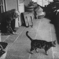 Hermann Hesse, German-Swiss poet, novelist, painter, and recipient of the 1946 Nobel Prize in Literature, with tabby