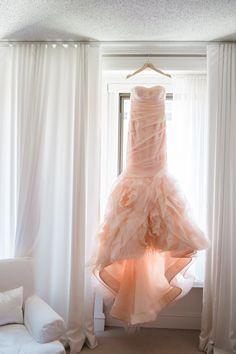 Pretty in pink wedding dress: Photography: Amanda Megan Miller - http://www.amandameganmiller.com/