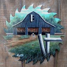 "Hand Painted 7 1/4"" Saw Blade Tobacco Barn K"