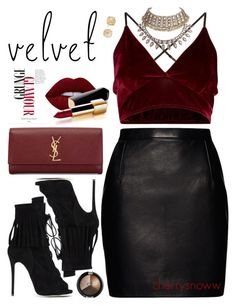 """Summer to fall velvet glam"" by cherrysnoww ❤ liked on Polyvore featuring Giuseppe Zanotti, Magda Butrym, Yves Saint Laurent, Lime Crime, Chanel and Vince Camuto"