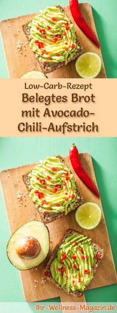 Low-Carb-Rezept für Brot mit Avocado-Chili-Aufstrich: Kohlenhydratarm, eiweißreich, kalorienreduziert, ohne Getreidemehl, gesund ... #lowcarb #frühstück