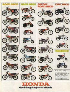 Vintage Motorcycles Classic 1974 Honda Line Up Full Line Vintage Motorcycle Poster Print Motocross Vintage, Enduro Vintage, Vintage Bikes, Vintage Cars, Retro Cars, Vintage Honda Motorcycles, Honda Bikes, Honda Cb750, Custom Motorcycles