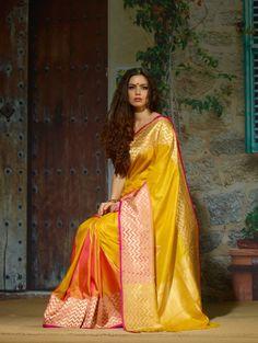Exclusive Yellow Pure Silk Saree