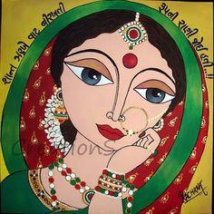 CreationS - The Essene of Arts: Dulhan : 'Waiting for him. Saree Painting, Kerala Mural Painting, Indian Art Paintings, Fabric Painting, Madhubani Art, Madhubani Painting, Indian Folk Art, India Art, Tribal Art