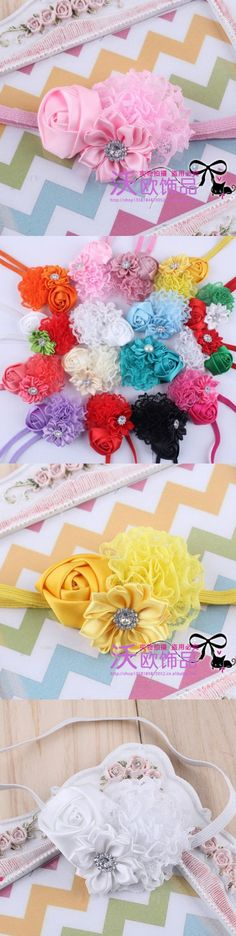 16 Colors hot Infant Baby Headbands 2016 Bandeau Satin Ribbon Roses Flower Headband Baby Girls Hair Accessories