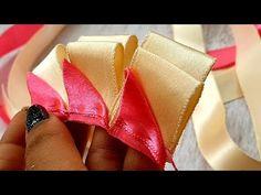 Very Unique And Beautiful Ribbon Art, DIY Cool Ideas - YouTube Diy Lace Ribbon Flowers, Ribbon Art, Ribbon Hair Bows, Diy Hair Bows, Diy Ribbon, Ribbon Crafts, Ribbon Embroidery Tutorial, Ribbon Flower Tutorial, Bow Tutorial