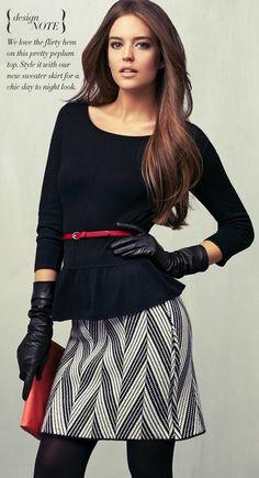 peplum top and sweater skirt