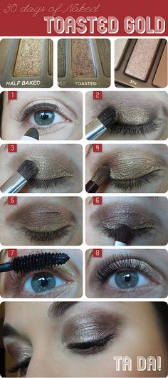 Rose Gold eye makeup look done with Naked Palette 1. via Wake Up for Makeup