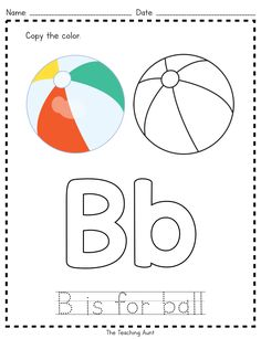 B is for Ball: Paper Pasting Activity is best for preschoolers. It develops creativity and fine motor skills. (with free copy the color worksheet) Preschool Apple Activities, Letter Worksheets For Preschool, English Worksheets For Kids, Preschool Letters, Alphabet Activities, Preschool Learning, Kindergarten Worksheets, Handwriting Worksheets, Alphabet Crafts