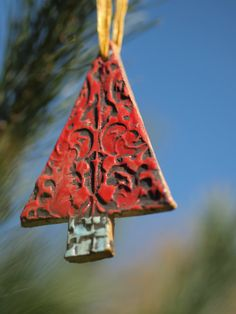 Christmas Ornament - Textured Clay Christmas Tree Ornament  Red -  Colorful Ceramic Pottery Mosaic