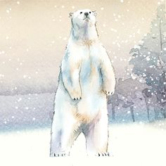 Hand-drawn polar bear in the snow watercolor style vector | free image by rawpixel.com / Niwat Polar Bear Illustration, Free Vector Illustration, Free Illustrations, Polar Bear Drawing, Bear Sketch, Sketch Art, Polaroid, Polar Animals, Winter Painting