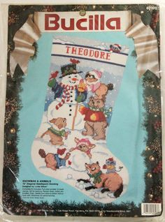 "Bucilla Needlepoint Stocking Kit 18"" Xmas Snowman & Animals and Linda Gillum Vtg #Bucilla"