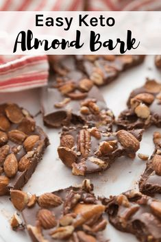 Keto Easy Almond Bark This Keto Easy Chocolate Almond Bark recipe is like a homemade candy bar with all your favorites. - This Keto Easy Almond Bark recipe is a like a homemade candy bar with all your favorites. Chocolate Low Carb, Chocolate Almond Bark, Sugar Free Chocolate, Chocolate Chips, Desserts Keto, Dessert Recipes, Keto Snacks, Recipes Dinner, Candy Recipes