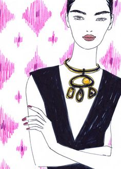 Fashion Illustration I by Aimee Levy I sketch I beauty illustration I make up I woman with statement necklace @monstylepin