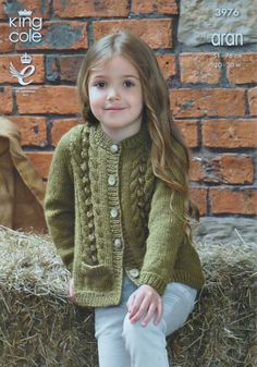 Girls Knitting Pattern K3976 Childrens Long Sleeve Bobble and