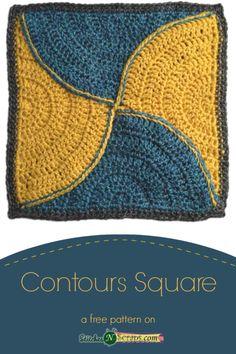 Contours 12 inch square - a free crochet pattern on StitchesNScraps.com