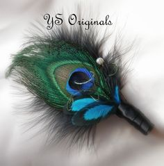 Hey, I found this really awesome Etsy listing at https://www.etsy.com/listing/170971173/teal-peacock-boutonniere