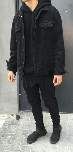 beautiful autumn-outfits-teenager-young-black-denim jacket Source by marleenbngen Mode Outfits, Grunge Outfits, Fall Outfits, Fresh Outfits, Black Outfits, Men Street, Street Wear, Teenager Mode, Denim Noir