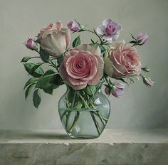 Vase with flowers Bouquet Roses Tulips Round Beer by kalandor Art Floral, 3d Painting, Oil Painting Flowers, Paint Flowers, Oil Paintings, Tea Roses, Pink Roses, Photo Fruit, Art Folder