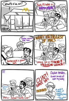 Avengers in the drive-through - I've got the first two panels pinned already but THERE'S MORE AND IT GOT BETTER