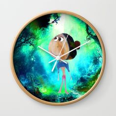 """Promo Link... https://society6.com/azima?promo=K8RYDY6V3HCZ  Available in natural wood, black or white frames, our 10"""" diameter unique Wall Clocks feature a high-impact plexiglass crystal face and a backside hook for easy hanging. Choose black or white hands to match your wall clock frame and art design choice. Clock sits 1.75"""" deep and requires 1 AA battery (not included)."""