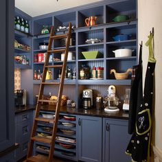 scullery storage- casserole dishes, platters- long narrow shelves