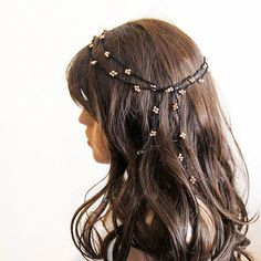 crochet  Headband  Headpiece beaded headband Hair band brown beaded Wedding Accessories Boho Bohemian Women Bridesmaids girls hippie