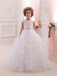 Elfenbein-Blumen-Mädchen-Kleid - Brautjungfer , Geburtstag, Hochzeit Partei-Feiertag Elfenbein-Spitze-Tulle-Blumen-Mädchen-Kleid