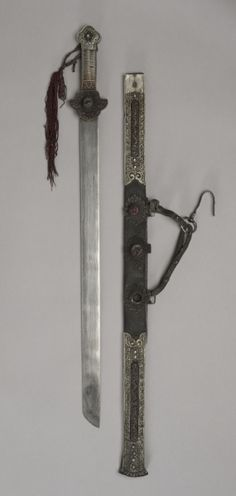 Tibetan sword and scabbard with bone inlay. Cleveland Museum of Art