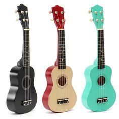 21 Inch Ukulele Basswood Nylon String for Beginner Black Wood Green