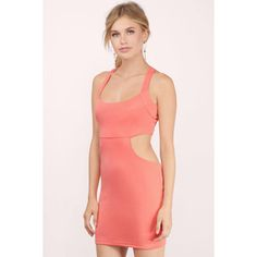 Tobi A Cut Above Average Bodycon Dress (£5.48) ❤ liked on Polyvore featuring dresses, coral, coral red dress, bodycon dress, sporty dresses, red dress and coral dresses