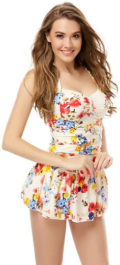 4d72ed290e One Piece Floral Ruched Halter Push Up Slim Tummy Control Tankini Swim Dress  at Amazon Women's Clothing store: