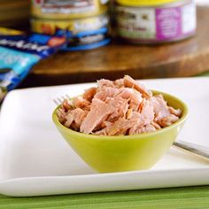 Replace the light mayo in your tuna salad with reduced-fat (2%) Greek yogurt, which is high in protein and lower in fat. To boost the protein even more, mix in a chopped hard-boiled egg. Add grated carrots for crunch and scoop the salad into celery stalks for a low-carb snack or lunch.