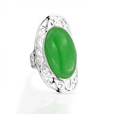 Bling Jewelry 925 Silver Gemstone Filigree Scroll Oval Green Jade Armor Ring