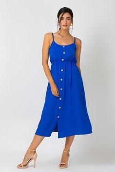 Φόρεμα ρουά midi με κουμπιά   Owtwo Summer Dresses, Fashion, Moda, Summer Sundresses, Fashion Styles, Fashion Illustrations, Summer Clothing, Summertime Outfits, Summer Outfit